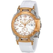 ティソ 腕時計 レディース 時計 Tissot T-Race Chronograph White Rubber Strap Ladies Watch T0482172701700