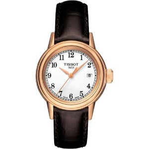 ティソ 腕時計 レディース 時計 Tissot Carson White Dial Black Leather Ladies Watch T0852103601200