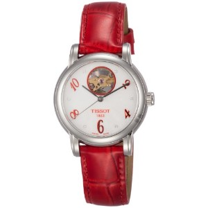 ティソ 腕時計 レディース 時計 Tissot T-Classic Automatic Mother of Pearl Dial Red Leather Ladies Watch T050207161...