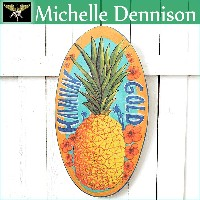 【ミッシェル・デニスン】【Michelle Dennison】ART WOOD PLATE(L)Hawaiian Gold Wood Sign【アートプリント】【Hawaii】【ハワイ 雑貨】...