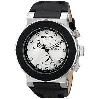 インビクタ 時計 インヴィクタ メンズ 腕時計 Invicta Men's 10744 Ocean Reef Chronograph Silver Dial Black Leather Watch