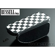 ★BUSSELL センターアームレスト/チェッカーフラッグ/B1A-CF★ ミニ/MINI (R50/R53/R52 /R56/R57/R55/R58/R59共通)