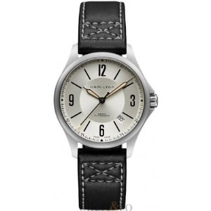 ハミルトン カーキ メンズ 腕時計 Hamilton Khaki Aviation Silver Dial Black Leather Mens Watch H76565725
