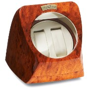 Diplomat ディプロマット 腕時計 木製ケース Burl Wood Double Watch Winder with Off-White Leather Interior and 4 Program Settings