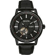 送料無料 Bulova ブローバ Mens Black Analog Stainless Watch Model# 98A139 メンズ 腕時計
