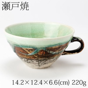 瀬戸焼 二色線彫 スープカップ(緑) Setoyaki carved two-color line soup cup green