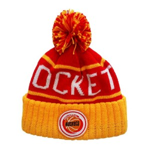 【MITCHELL&NESS】NBA ROCKETS CUFFED POM KNIT CAP [RED-YELLOW-WHITE] / ミッチェル&ネス NBA ロケッツ カフ ポム ニット キャップ