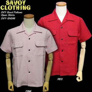 SAVOY CLOTHINGサヴォイクロージング◆SVY Good Fellows Open Shirts◆◆PINK/RED◆SVY-SH246