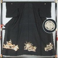 【NU★S】夏用 黒留袖 手刺繍茶屋辻模様 丸蔦紋 プチサイズ★送料無料(Free shippinng only in Japan)【リサイクル着物 着物 中古 帯 きもの 正絹 kimono...