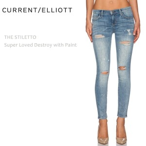【SALE】CURRENT ELLIOTT(カレントエリオット)THE STILETTO Super Loved Destroy with Paint【送料無料】スキニー/クロップド/ダメージデニム...