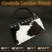 レザーポーチ カウファポーチ 牛革 ハラコ レザー Leather Pouch Cowhide Leather&cowhide fur Pouch WILD HEARTS Leather...