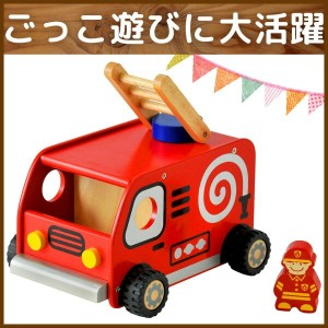 【I'm TOYアイムトイの知育玩具】ファンファン消防車(木製 木のおもちゃ オモチャ 幼児 おもちゃ 消防車 1歳児 1歳半 2歳児 男の子 子供 誕生日プレゼント 一歳 車のおもちゃ はしご車...