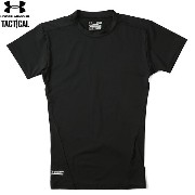 UNDER ARMOUR TACTICAL アンダーアーマー タクティカル HEAT GEAR COMPRESSION S/S Tシャツ BLACK《WIP》 ミリタリー 男性 春 ギフト プレゼント