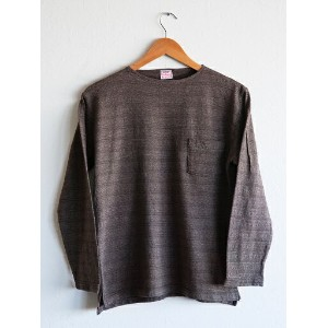 【送料無料】CUSHMAN(クッシュマン)〜JACQUARD BORDER BOATNECK TEE BROWN〜
