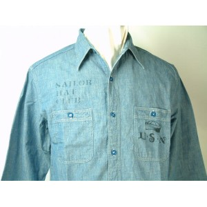Buzz Rickson's (バズリクソンズ) BLUE CHAMBRAYWORK SHIRTブルー シャンブレー ワーク シャツSAILOR HAT CLUBSTENCIL AND...