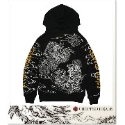 CROPPED HEADS 抜染ジップパーカ龍虎柄 (ZIP HOOD)(911-89BK)