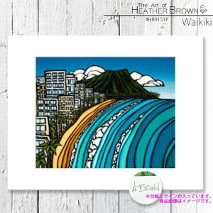 HEATHER BROWN Waikiki HB9151P ヘザーブラウン アートプリント Mサイズ 絵画 ハワイ サーフ サーフィン ハワイアン 絵 風景画■CRNG ds-Y