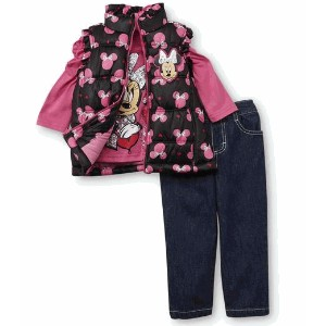 Disney(ディズニー)Minnie Mouse Girl's Vest, T-Shirt & Jeansミニー・マウスのベスト、Tシャツ&ジーンズセット 5XS(111cm)