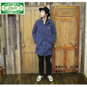 No.SC13442 SUGAR CANE LIGHTシュガーケーンライトPINSTRIPE DENIM SOUTIEN COLLAR COAT