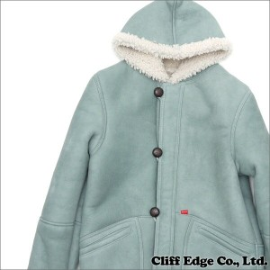 SUPREME(シュプリーム) Schott Shearling Hooded Coat (ムートンコート) LIGHT BLUE 230-000936-034+【新品】