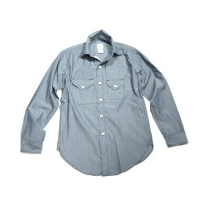 【期間限定30%OFF!】POST OVERALLS(ポストオーバーオールズ)/#1256 COTTON BROADCLOTH CRUZER SHIRTS2/blue