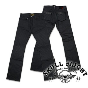 "【SKULL FLIGHT スカルフライト】ボトム/SS PANTS type5 STRETCH ""QUILTING HARD PIQUE POCKET & W KNEE""(ブーツカット)★送料..."