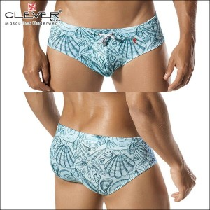 【CLEVER2016-1】 CLEVER クレバー Sea Life Swimsuit Brief Ref,0608 CLEVER スイムパンツ 【男性下着 水着 ボクサー メンズ Men's...