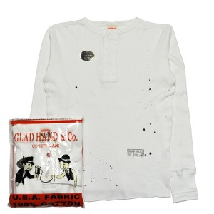 GLADHAND-11 USED WAFFLE HENRY L/S T-SHIRTS/WHITE/パックT/ヴィンテージ加工/ワッフル/ヘンリーネック/長袖/Tシャツ【送料無料/あす楽対応】...