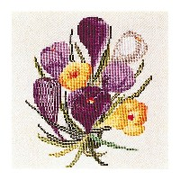 Thea Gouverneur クロスステッチ刺繍キットNo.813 「Crocus」(クロッカス 花) オランダ テア・グーヴェルヌール 【取り寄せ/納期40〜80日程度】