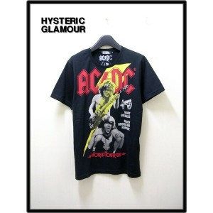 M 黒 BLACK【HYSTERIC GLAMOUR [ヒステリックグラマー] ACDC/SUMMER VACATION TOUR pt T-SH AC/DC Tシャツ】0251CT10