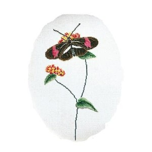 Thea Gouverneur クロスステッチ刺繍キット No.1021 「Butterfly brown-pink」(蝶) オランダ テア・グーヴェルヌール 【取り寄せ/納期40〜80日程度】