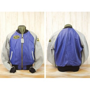 vanson バンソン LOGO TEAM JACKET SPECIAL ORDER COLOR レザージャケット VANSON TJV BLUE×GRAY