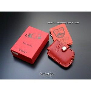 Grazio&Co.レザーキーケース by 栃木レザー TYPE-B 4 (Grazio RED& BEIGE Stitch)
