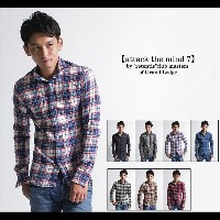 【attack the mind 7】COTTON WASHABLE NEL-CHECK SHIRT チェックウォッシュ加工ネルシャツ