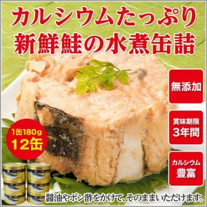 NEW 鮭 水煮缶詰 12缶セット 180g×12缶 食品 缶詰 水産物加工品