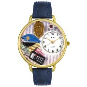 Whimsical Watches 男女兼用 腕時計 Unisex G0610016 Police Officer Navy Blue Leather Watch