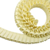 """[Outlet SALE]グログラン [プリーツ] リボン 2cm幅 バターミルク 1m / Grosgrain [Pleated] Ribbon Width 3/4"""" Butter Milk 1m"""