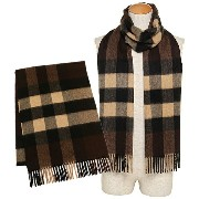 バーバリー マフラー BURBERRY 3878934 2097B MENS HALF MEGA CHECK SCARF カシミア100% 36×200cm DARK CHESTNUT BROWN...