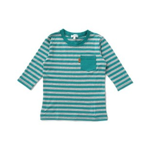 【3can4on(Kids) (サンカンシオン)】七分袖ボーダー天竺Tシャツキッズ トップス|カットソー・Tシャツ ピンク