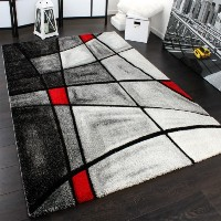 Designer Carpet Modern Rug Chequered Contour Cut Pattern In Grey Red Top Quality Top Price, Size:120x170 cm by PHC