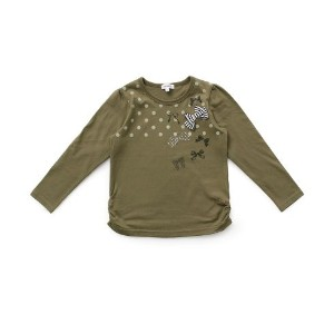 【3can4on(Kids) (サンカンシオン)】ドット×リボン天竺カットソーキッズ トップス|カットソー・Tシャツ ピンク系