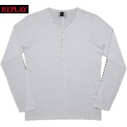 REPLAY/リプレイ M3033 COTTON JERSEY T-SHIRT with BUTTONS 長袖ヘンリーネックカットソー/長袖ヘンリーネックTシャツ OPTICAL WHITE...