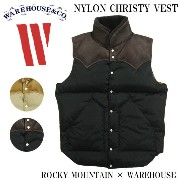 WAREHOUSE ウエアハウス ダウンベスト NYLON CHRISTY VEST ROCKY MOUNTAIN × WAREHOUSE 450-512-77