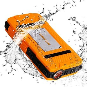 防水 External バッテリー UNIFUN 10400mAh Power Bank Dustproof Shockproof/ストロング LED Flashlight and ストラップ...