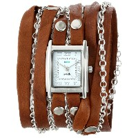 国内在庫 ラメールコレクション La Mer Collections Women's LMCLIFTON003 Tobacco Silver Square Case White Dial Ion...