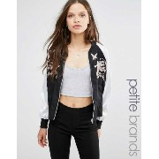 New Look Petite 小さいサイズ Embroidered Contrast Bomber Jacket ジャケット