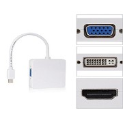Mini Displayport M to DVI&VGA&HDMI F HDTV変換 3in1