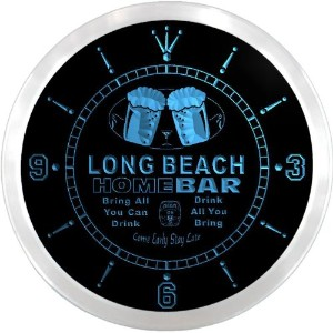 LEDネオンクロック 壁掛け時計 ncp2086-b LONG BEACH Home Bar Beer Pub LED Neon Sign Wall Clock