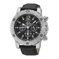 [セイコー]Seiko 腕時計 Solar Chronograph Black Dial Black Leather Watch SSC223P2 メンズ...