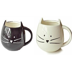Moyishi Lovely Cute Little White & Black Cat Coffee Milk Ceramic Mug Cup Christmas Birthday Best...